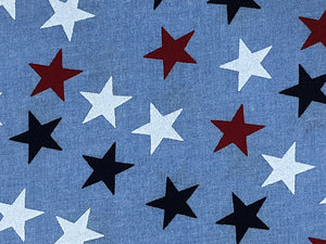 Close up of blue wide cotton fabric covered in red, white and blue stars.