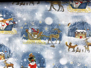 Close up of deer pulling sleigh with a snowflake background.