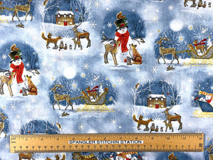 Ruler on fabric showing sizing of snowmen, deer and sleigh.