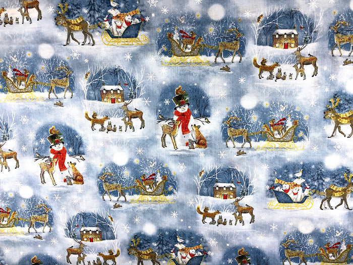 Snowman and Deer Fabric - XMAS-40