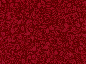 Close up of red holly leaf fabric.
