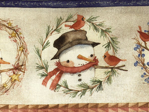 Close up of snowman on cotton fabric