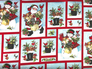 Cotton fabric covered with snowmen and Santa's carrying gifts.
