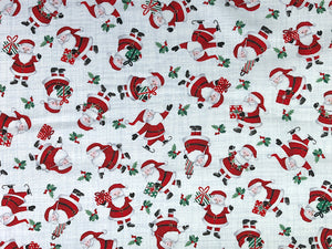 White and Grey cotton fabric covered with Santa's