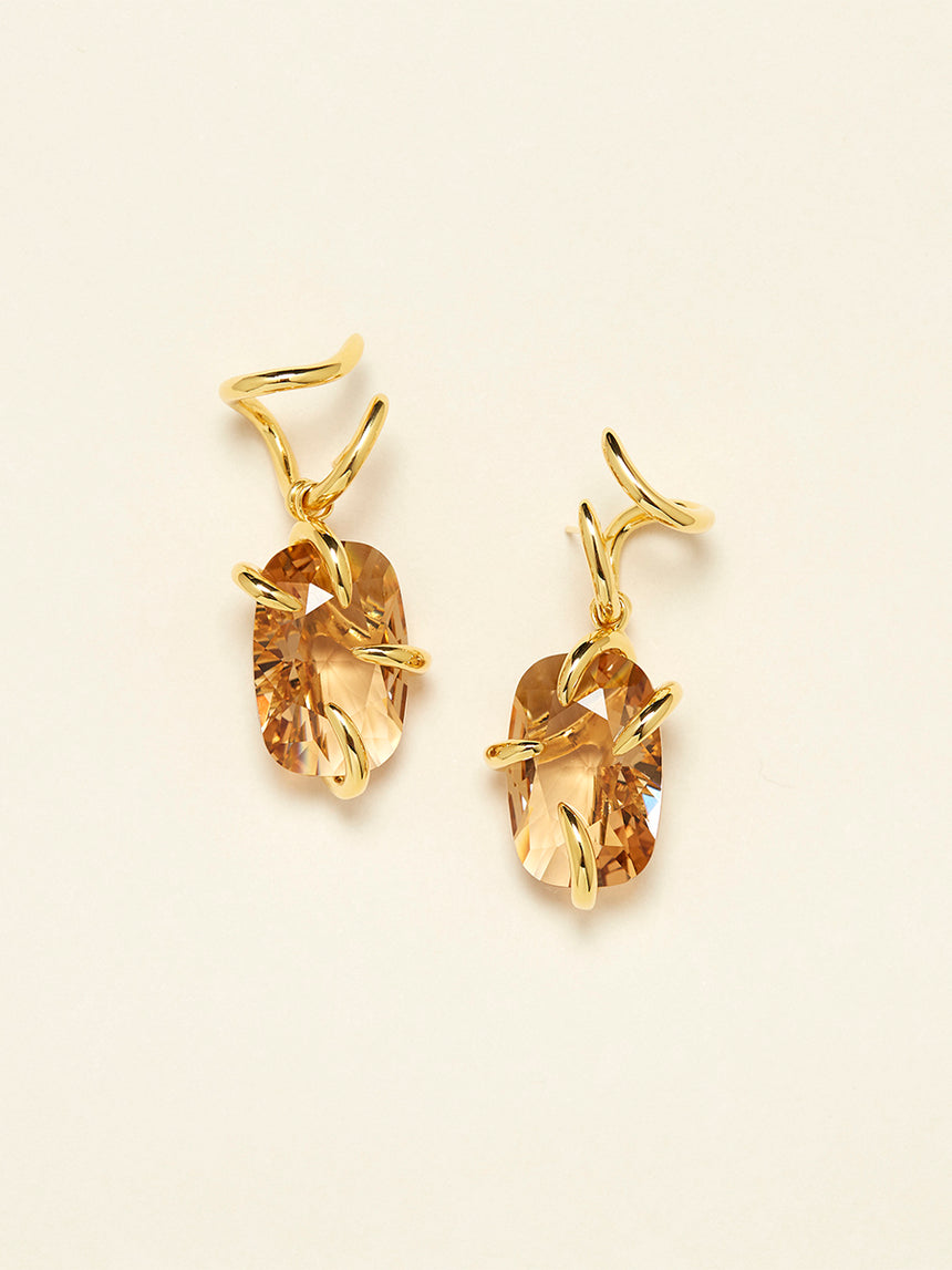RS.11.I.E.006 | IRREGULAR SET CRYSTAL DROP CLAW EARRINGS