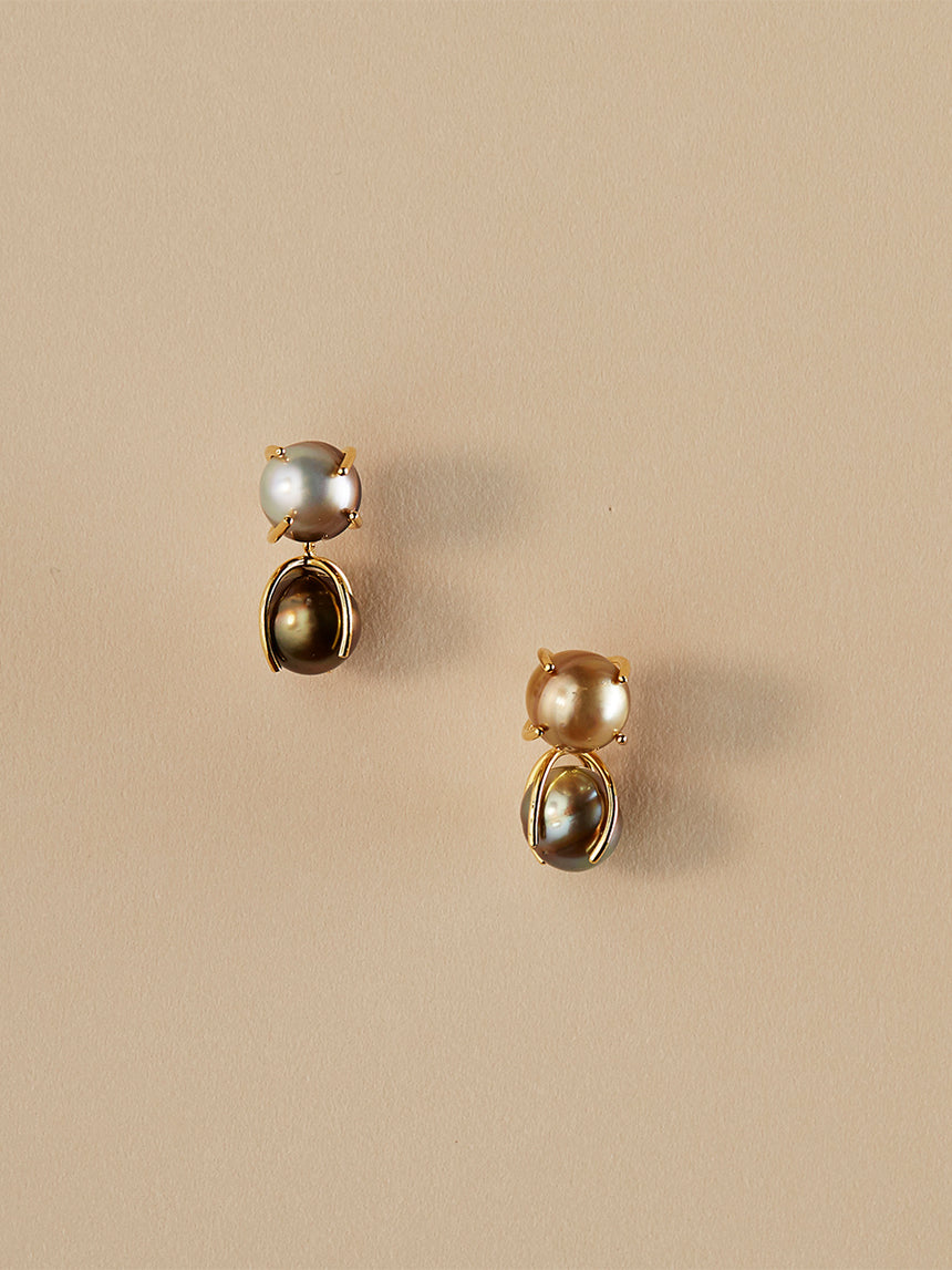 RS.FP.E.002 | DOUBLE CLAW SET DROP FIJI PEARL EARRINGS