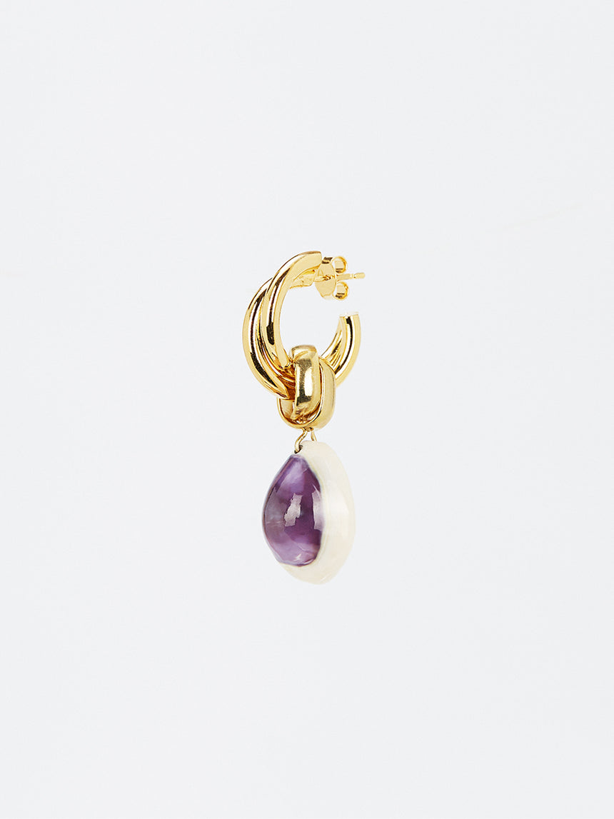 RS.IL.E.014 | WOVEN HOOP WITH PURPLE SHELL DROP EARRINGS