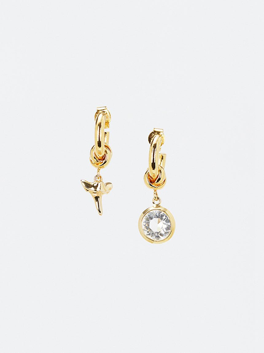 RS.IL.E.018 | OVAL HOOP WITH MISMATCH CHARMS DROP EARRINGS