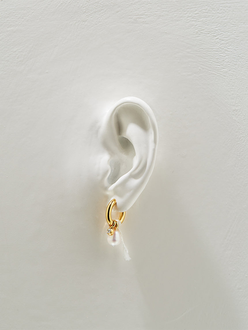 RS.LT.E.005 | OVAL HOOP, BALL AND PEARL DROP EARRINGS
