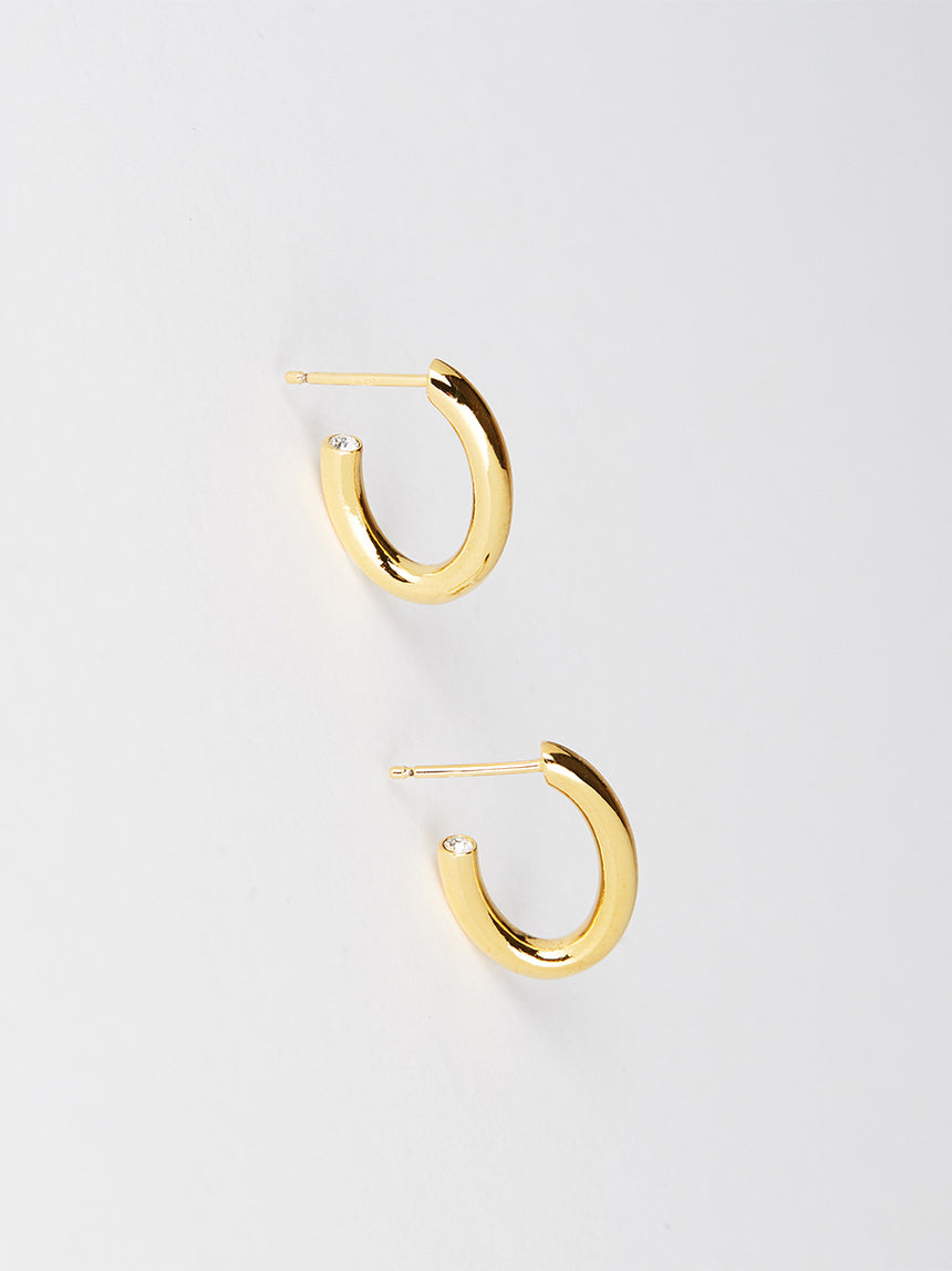 RS.LT.E.001 | OVAL HOOP LITTLE TEAR DROP EARRINGS