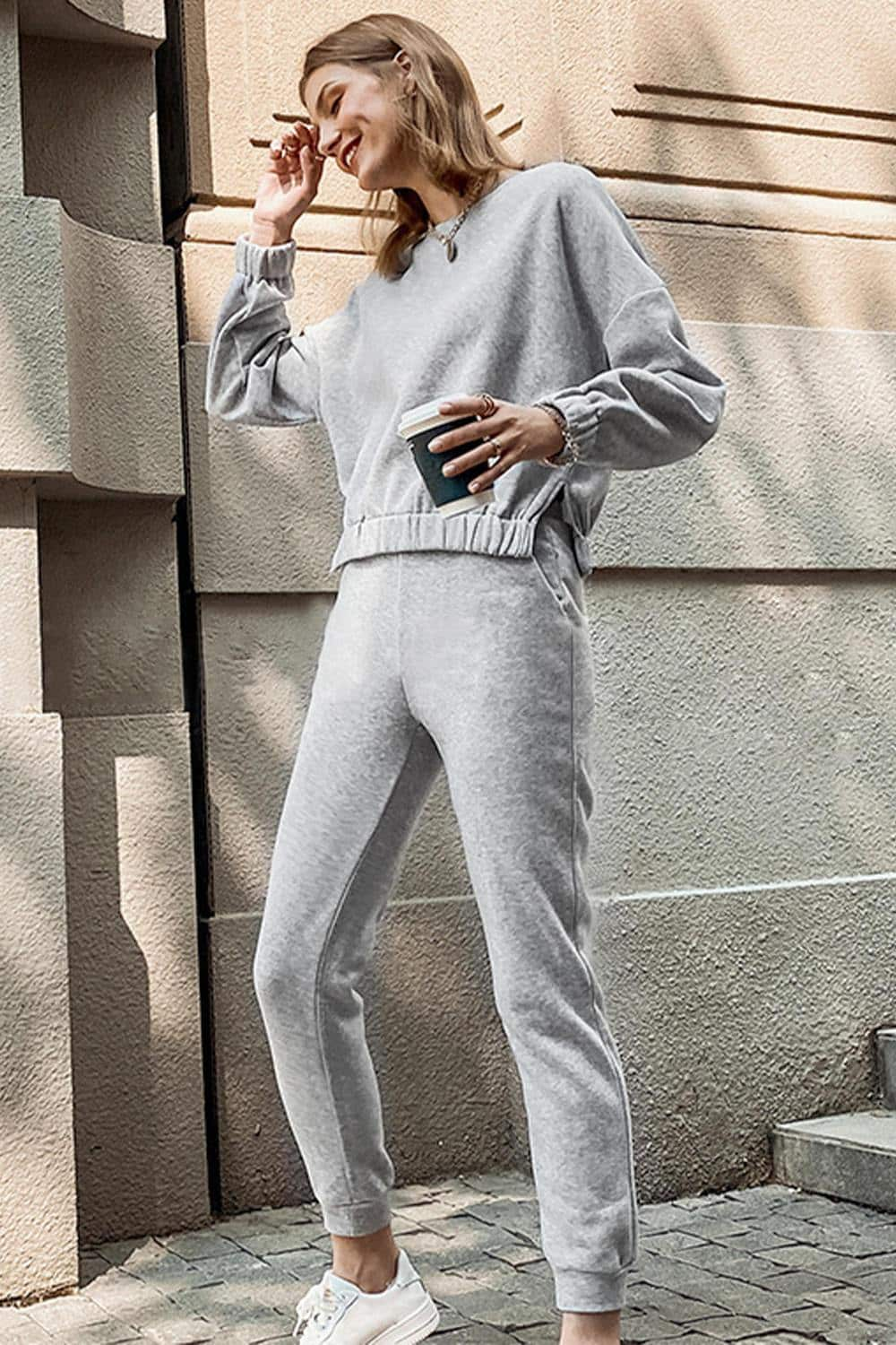 Casual Gray Sweatshirt Pant Loungewear Set