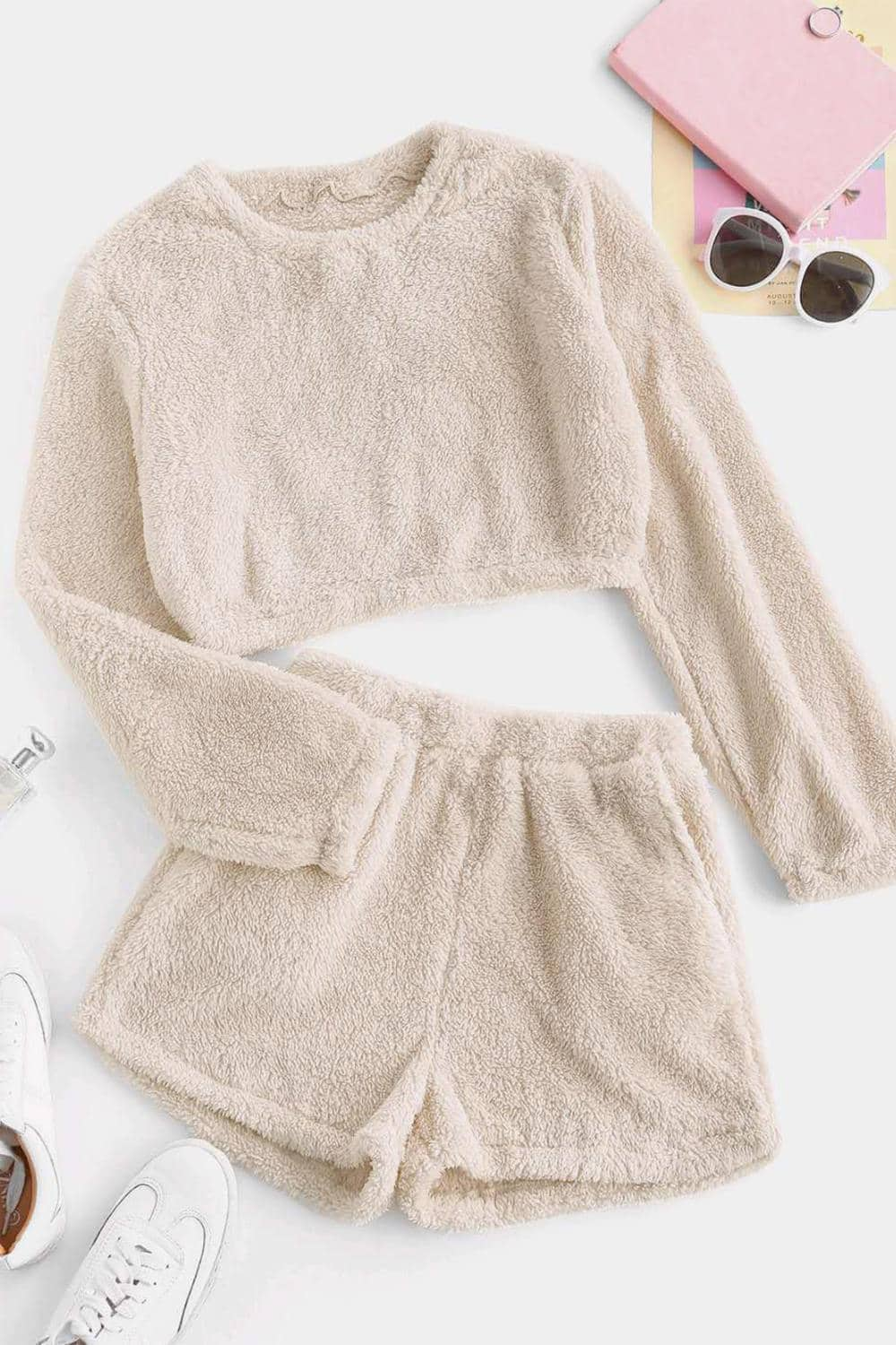 Comfy Teddy Crop Tops Shorts Loungewear Set