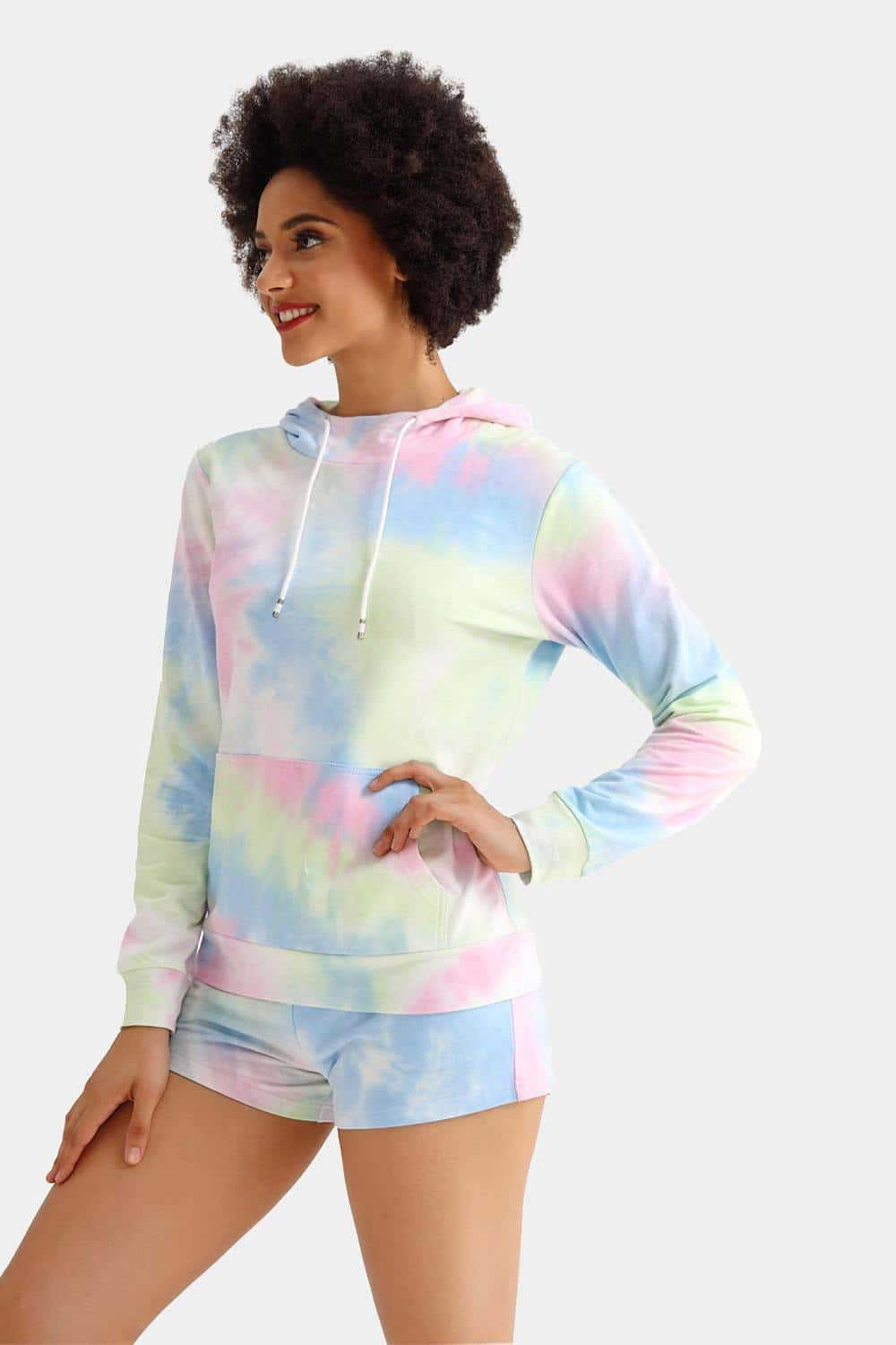 Cotton Tie dye Hooded Sweatshirt Set