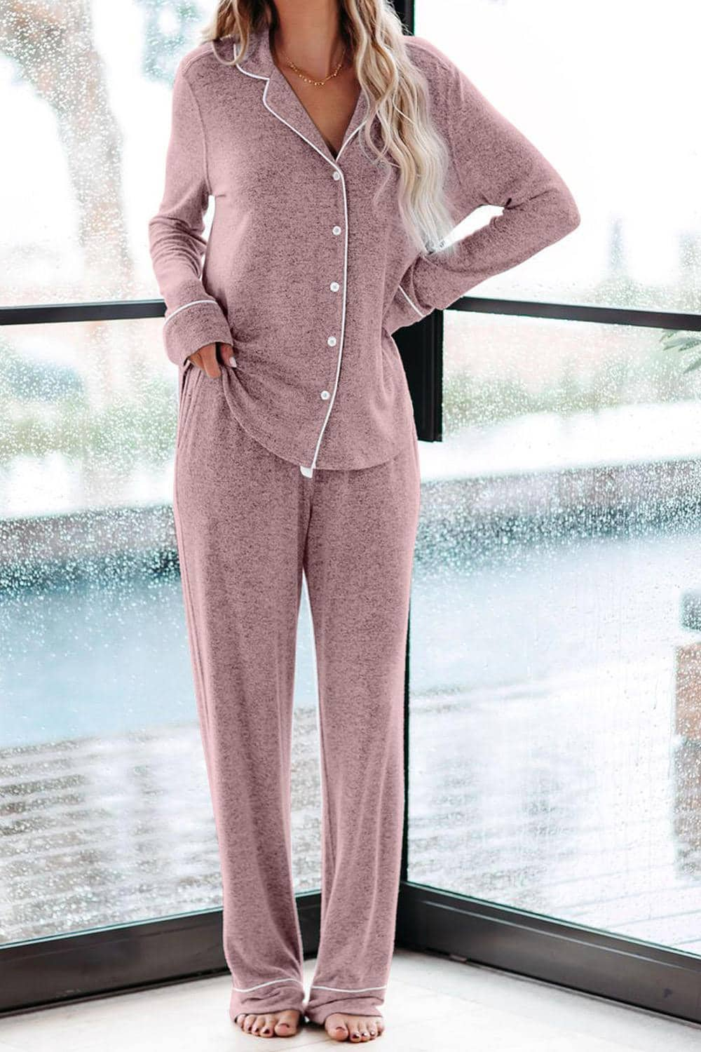 Cozy Two Piece Drawstring Loungewear Sets For Women