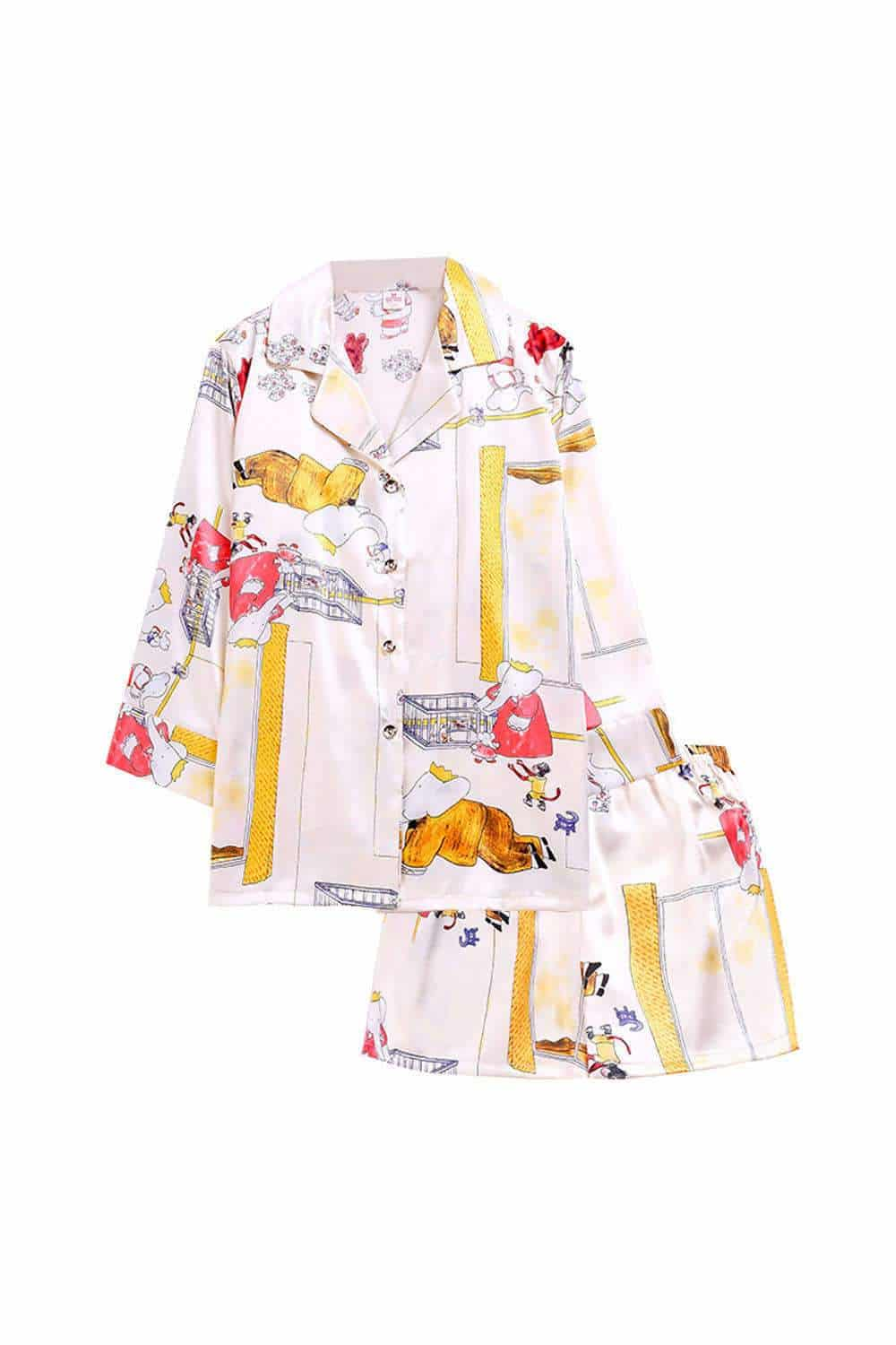 Cute Cartoon Print Satin Pajamas Set