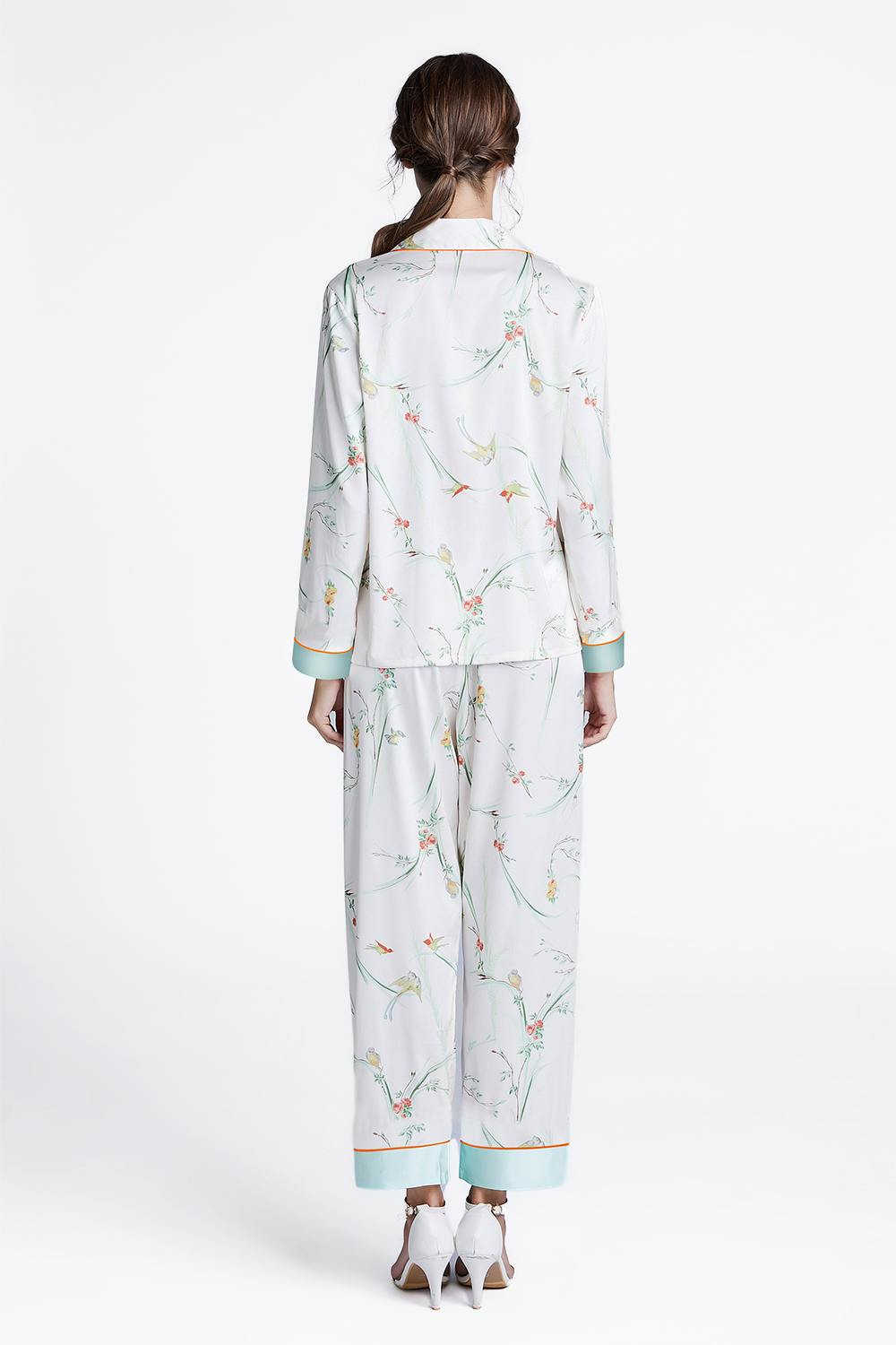 Fall Satin Print Long Sleeves Pajamas Set