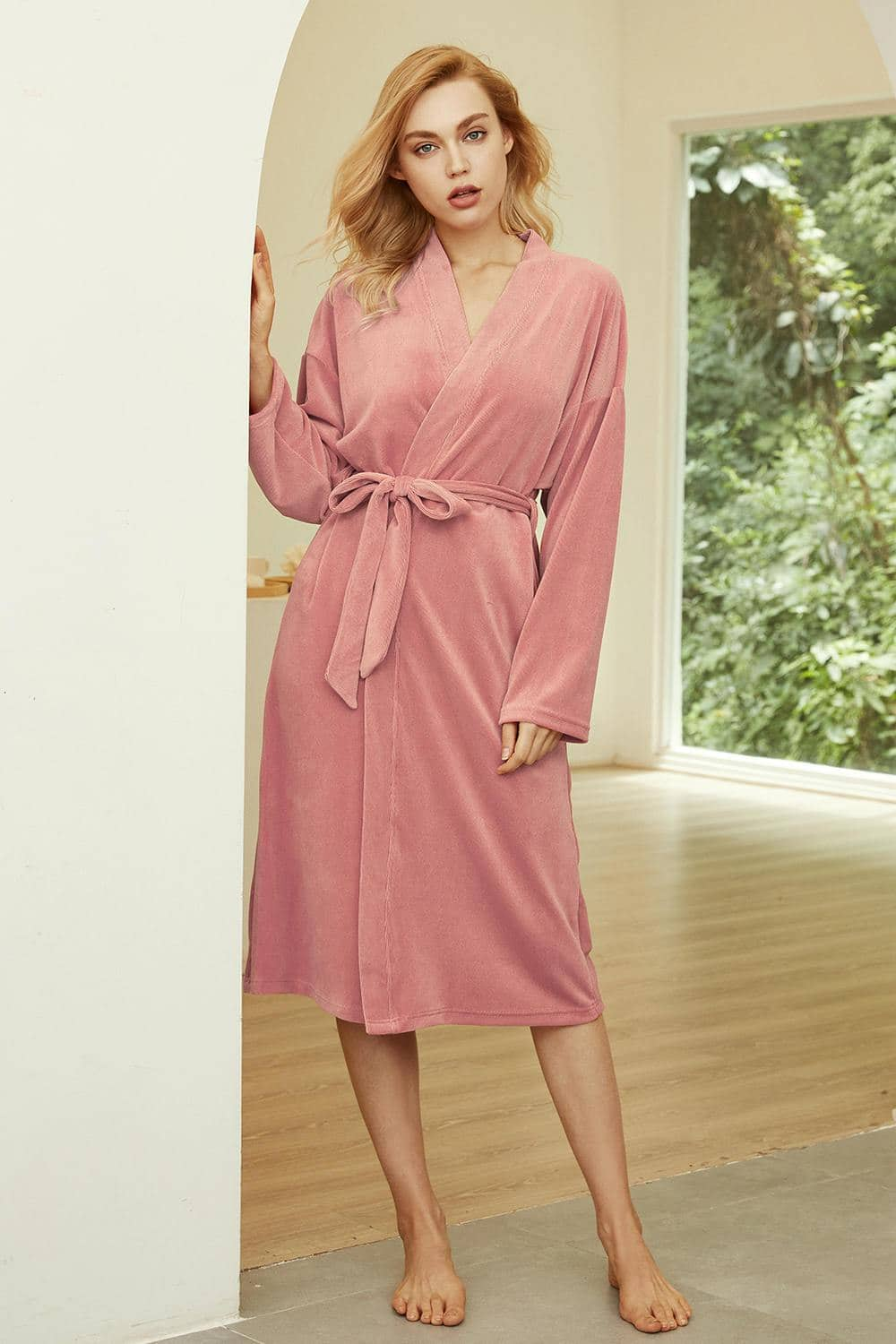 Lightweight Waist Belt Velvet Pink Bathrobe