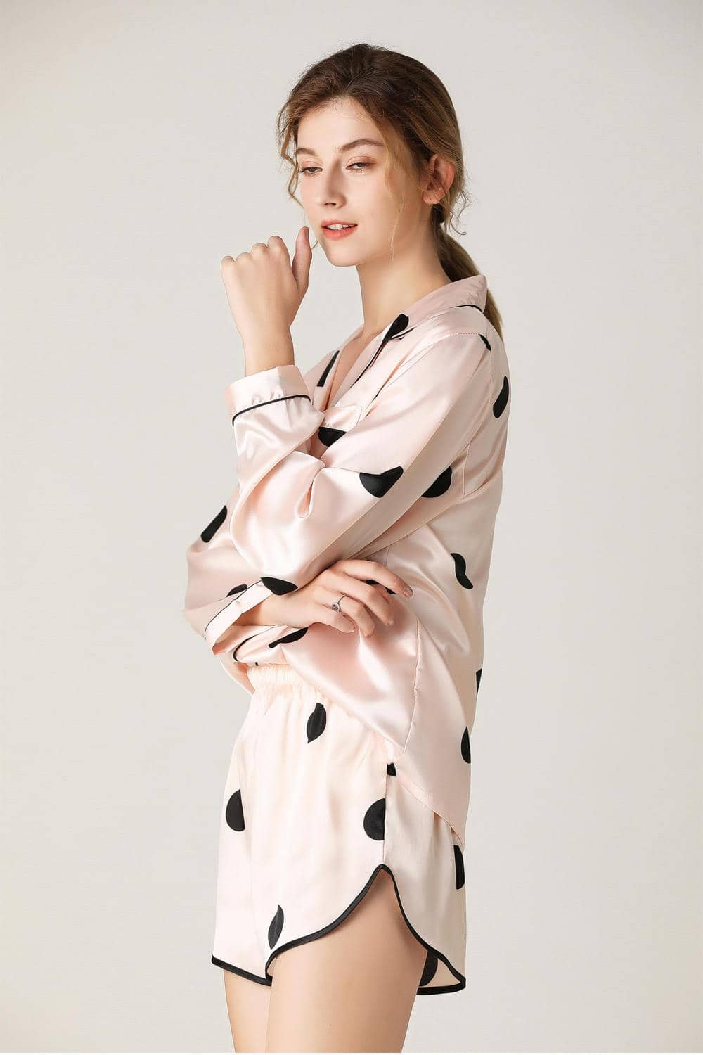 Pink Satin Soft Pajamas Sets for Women