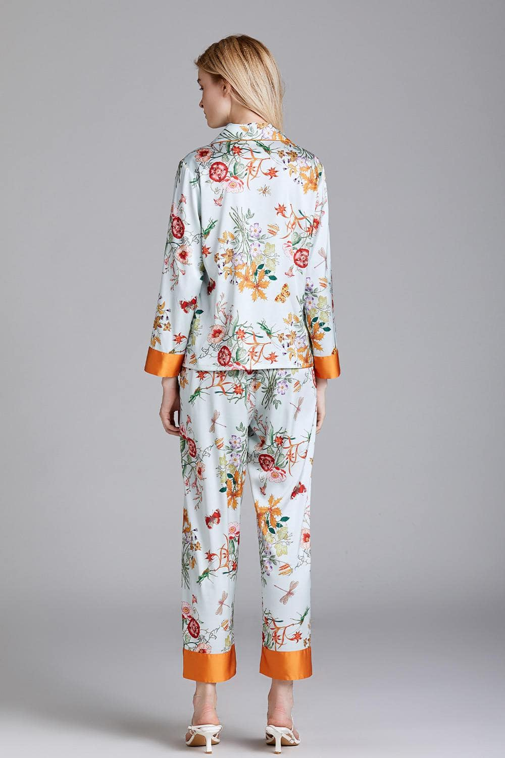 Satin Floral Print Long Sleeves Pajamas Set