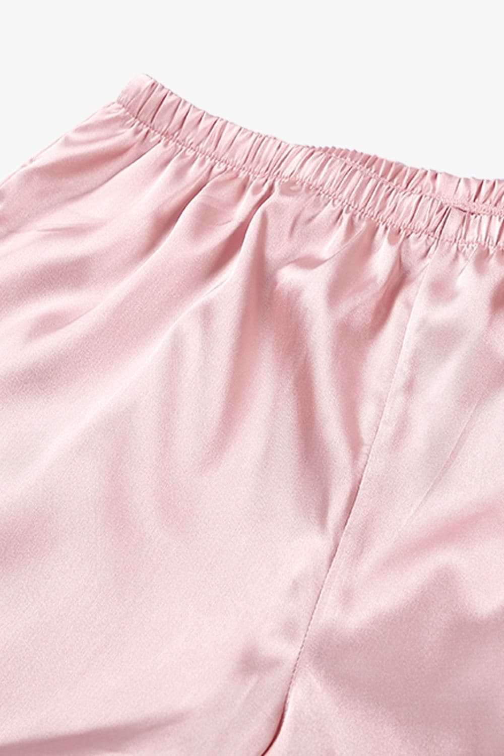 Satin Pink Belt Cardigan Pants Robe Set