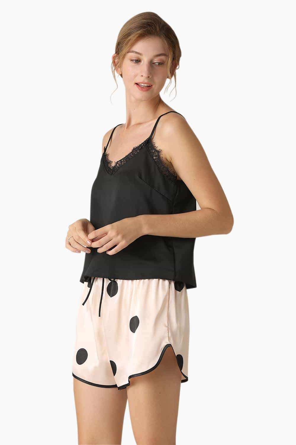 Satin Polka Dot Short Pajamas Set