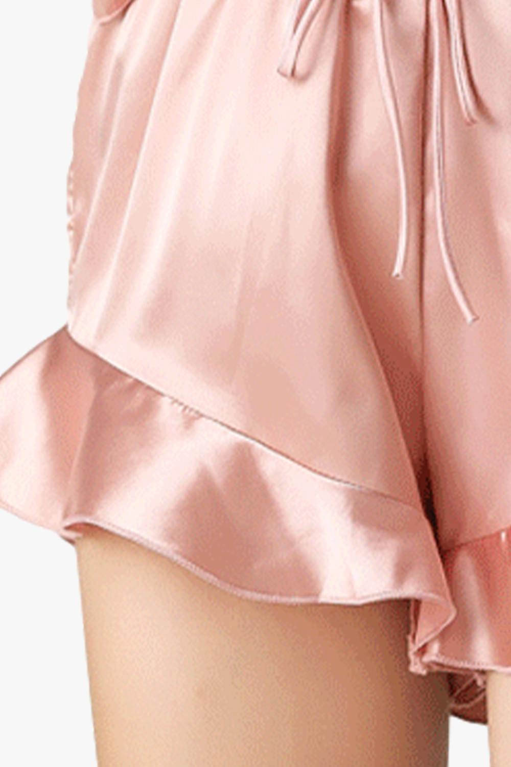Satin Ruffled Shorts Pajamas Set -Pre Sale