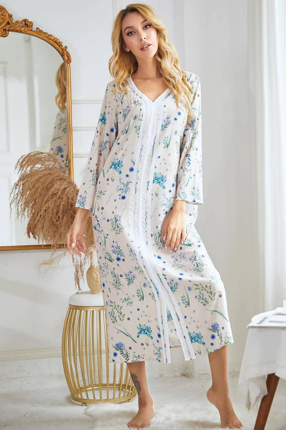 Soft Floral Print Long Nightgown Dress