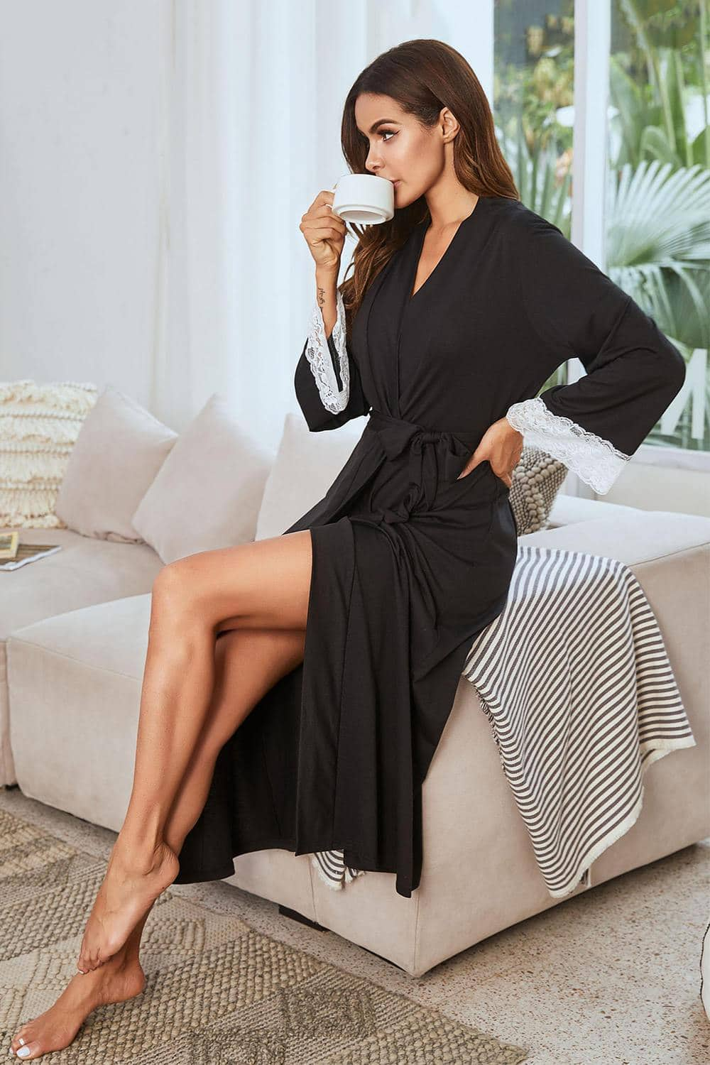 Soft Lace Trim Belt Long Robe