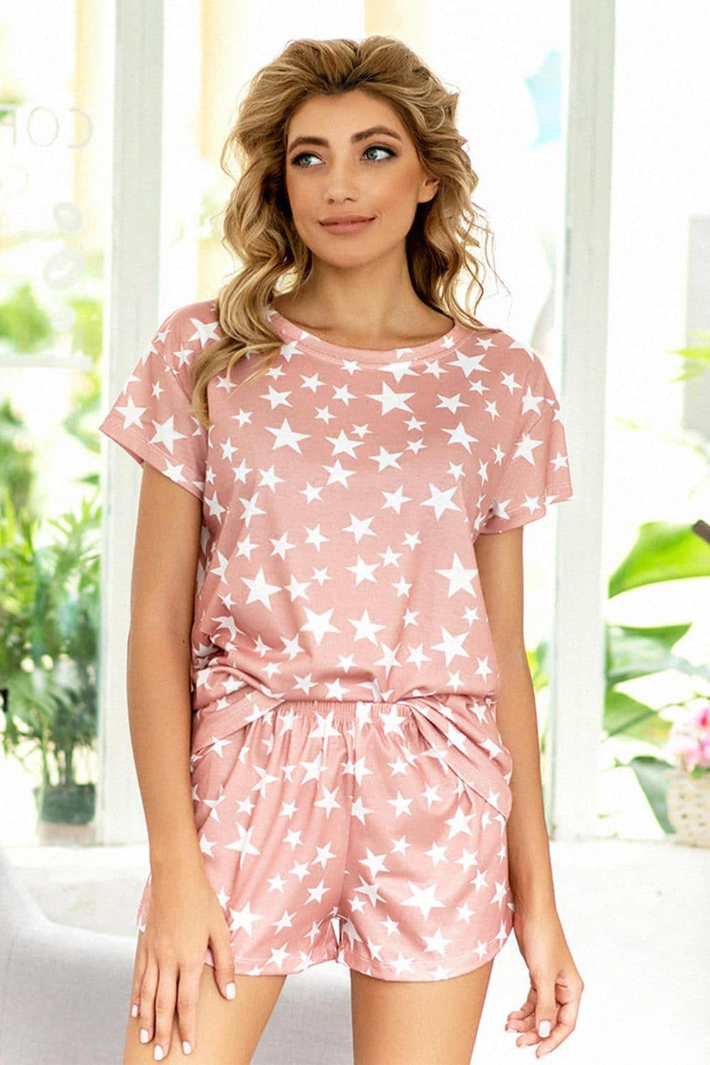 Tie-Dye Star Short Sleeve Loungewear Set