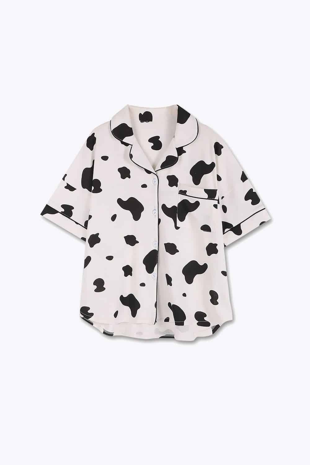 Women Cow Print Cotton Short Pajamas Set