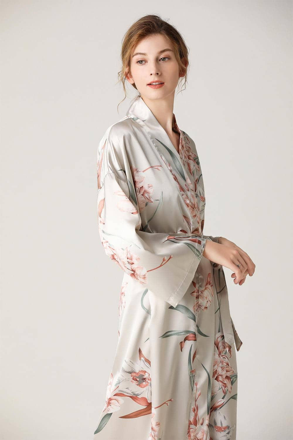 Women Floral Print Front Button Waist Satin Pajamas Set