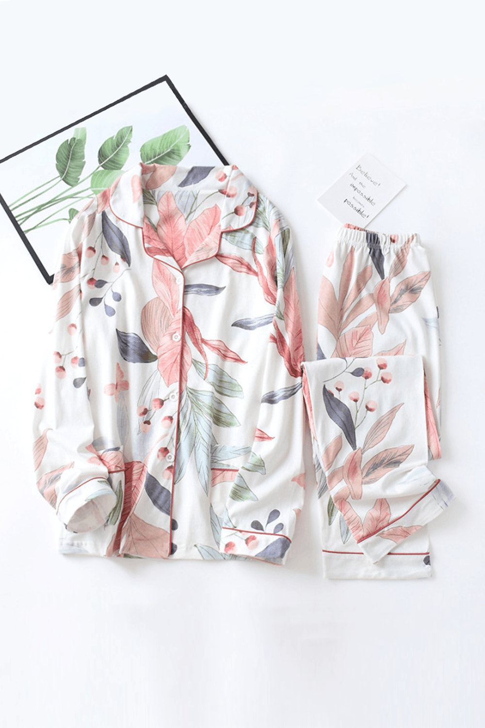 Women Floral Print Long Sleeve Cotton Pajamas Set