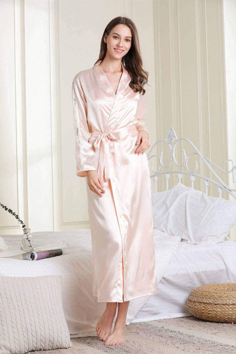 Women Lace Silk Nightgown and Robe Set