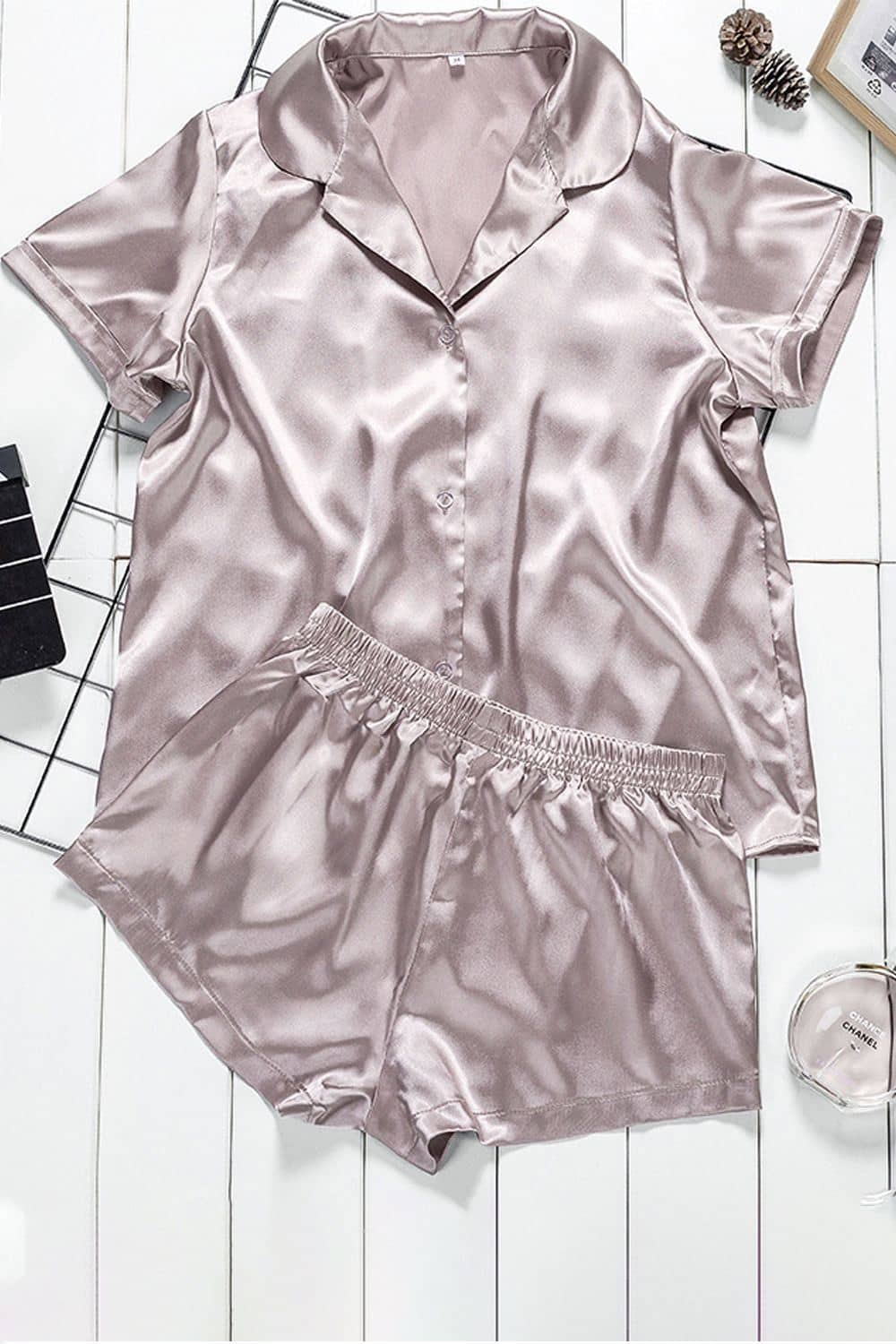 Women Satin Front Button Shorts Pajamas Set