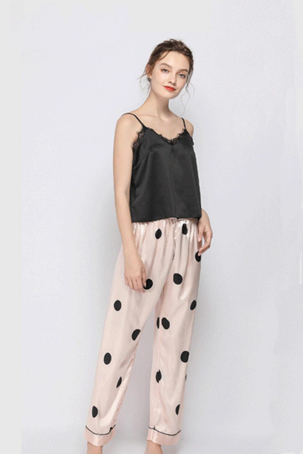 Women Satin Lace Trim Cami And Trousers Pajamas Set