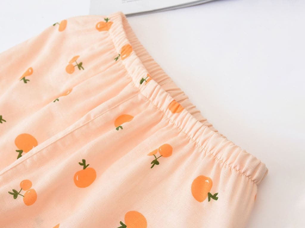 Women Soft Fruit Print Gauze Cotton Pajamas 3 Pieces Set