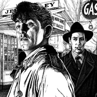 Featured image film noir art drawing of Out Of The Past by John Harbourne