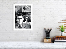 Load image into Gallery viewer, Film noir art drawing print of Spellbound A3 size