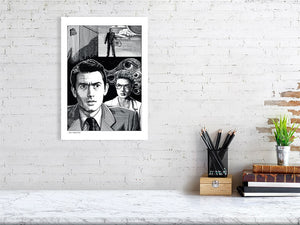 Film noir art drawing print of Spellbound A3 size