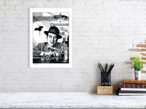 Film noir art drawing print of The Lost Weekend A3 size