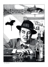 Load image into Gallery viewer, Film noir art drawing print of The Lost Weekend by John Harbourne