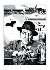 Film noir art drawing print of The Lost Weekend by John Harbourne