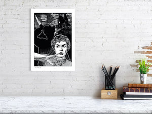 Film noir art drawing print of Psycho A3 size