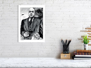 Film noir art drawing print of Citizen Kane A3 size