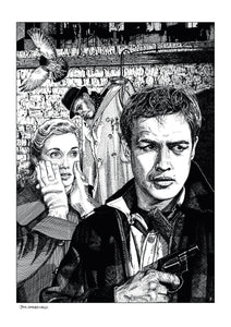 Film noir art drawing print of On The Waterfront by John Harbourne