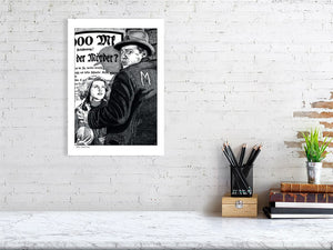 Film noir art drawing print of M by John Harbourne A2 size
