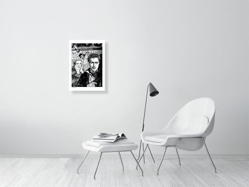 Film noir art drawing print of On The Waterfront A2 size