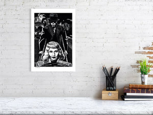 Film noir art drawing print of Double Indemnity A3 size