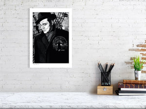 Film noir art drawing print of The Third Man A3 size
