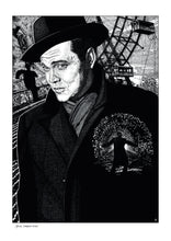 Load image into Gallery viewer, Film noir art drawing print of The Third Man by John Harbourne
